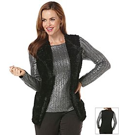Rafaella® Petites' Faux Fur Vest Black