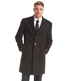 Calvin Klein Men's Plaza Brown Herringbone Topcoat