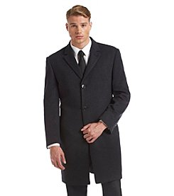 Calvin Klein Men's Plaza Charcoal Herringbone Topcoat