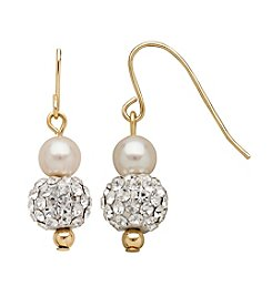 5.5mm Cultured Freshwater Pearl and Crystal Earrings in 14K Gold