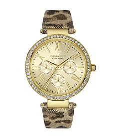 Caravelle® by Bulova Women's Leopard-Print Leather Strap Crystal Watch