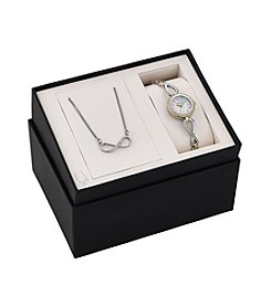 Bulova® Women's Two Tone Crystal Watch with Necklace