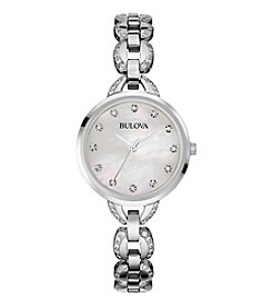 Bulova® Women's Stainless Steel Facets Watch with Mother-of-Pearl Dial