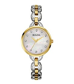 Bulova® Women's Two-Tone Facets Watch with Mother-of-Pearl Dial