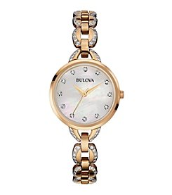 Bulova® Women's Rose Goldtone Facets Watch with Mother-of-Pearl Dial