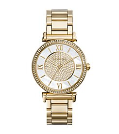 Michael Kors® Goldtone Catlin Watch with Mother-of-Pearl Dial & Pave Detail