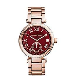 Michael Kors® Rose Goldtone Sklyar Watch with Crimson Color Dial