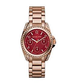 Michael Kors® Rose Goldtone Mini Blair Watch with Crimson Color Dial