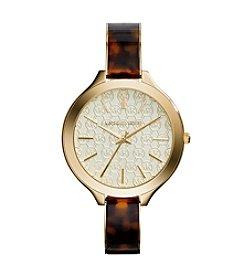 Michael Kors® Goldtone & Tortoise Shell Acetate Slim Runway Watch with Monogram Logo Dial