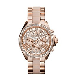 Michael Kors® Rose Goldtone Wren Watch with Pave Dial & Blush Center Link