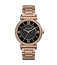 Michael Kors® Rose Goldtone Catlin Watch with Black Pave Dial