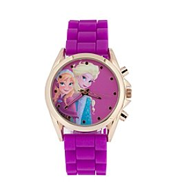 Accutime Youth Frozen® Elsa & Anna Goldtone/Purple Silicone Strap Watch