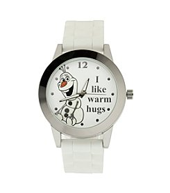 Accutime Youth Frozen® Olaf Silvertone/White Glitter Silicone Watch