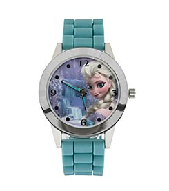 Accutime Youth Frozen® Elsa Silvertone/Ice Blue Silicon Watch