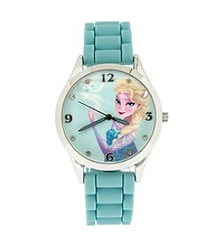 Accutime Youth Frozen® Elsa & Anna Silvertone/Ice Blue Silicone Strap Watch
