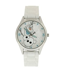 Accutime Youth Frozen® Olaf Frosted White Glitter Silicone Strap Watch