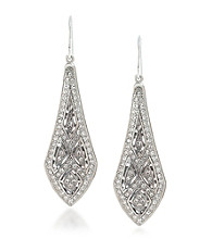 Carolee® Holiday Cocktails Silvertone Elongated Drop Pierced Earrings