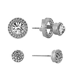 Jessica Simpson Scroll Motif Rhodium-Plated Jacket Stone Stud Set Earrings