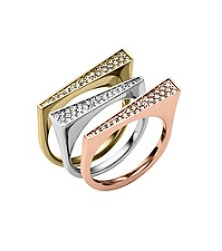Michael Kors® Set of Three Clear Pave Asymmetrical Stackable Rings