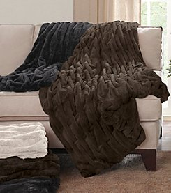 Madison Park™ Ruched Fur Throw