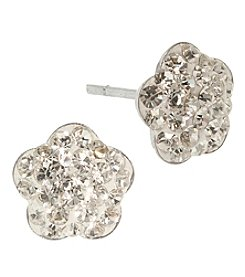 Athra Sterling Silver Clear Crystals Flower Stud Earrings