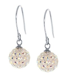 Athra Sterling Silver ABS Crystals Bead Drop Earrings