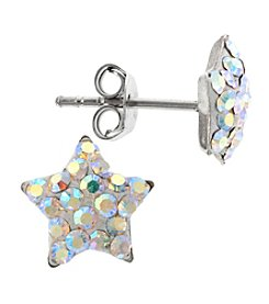 Athra Sterling Silver Star Crystals Stud Earrings
