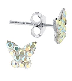 Athra Sterling Silver  Crystals Butterfly Stud Earrings