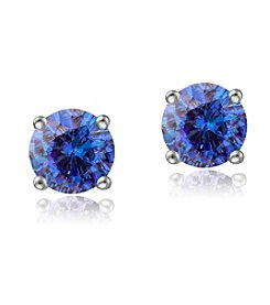 Designs by FMC Sterling Silver 0.5 ct. t.w. Tanzanite Round Stud Earrings