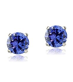 Designs by FMC Sterling Silver 1 ct. t.w. Tanzanite Round Stud Earrings