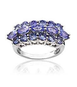 Designs by FMC Sterling Silver 2.5 ct. t.w. Tanzanite 3 Row Ring