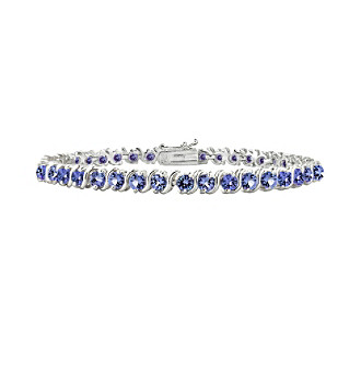 "Designs by FMC Sterling Silver 5 ct. t.w. Tanzanite ""S"" Design Tennis Bracelet"