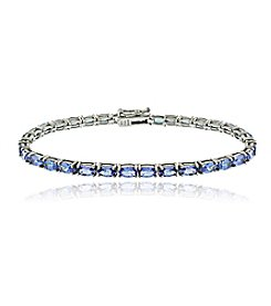 Designs by FMC Sterling Silver 8.7 5ct. t.w. Tanzanite Oval Tennis Bracelet