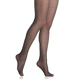 Calvin Klein Lacey Geo Sheer Tights - Black