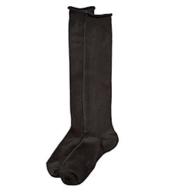 HUE® Roll Top Knee Socks - Black