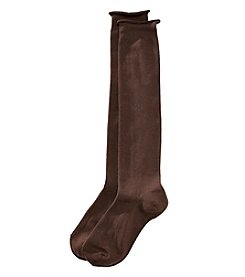 HUE® Roll Top Knee Socks - Espresso