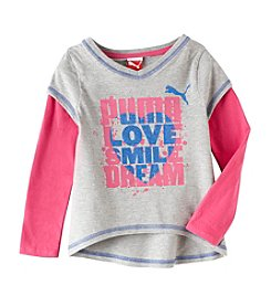 Puma® Girls' 2T-4T Slider with Pink Sleeves