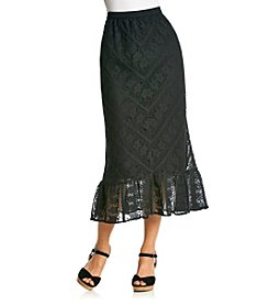 Studio West Long Solid Lace Skirt