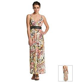 Studio West Embellished Palm Maxi Dress