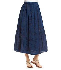 Studio West Long Embroidered Denim Skirt