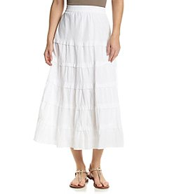 Studio West Solid Long Tiered Skirt