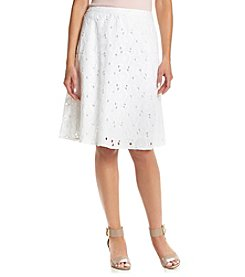 Studio West Solid Floral Eyelet Short Skirt
