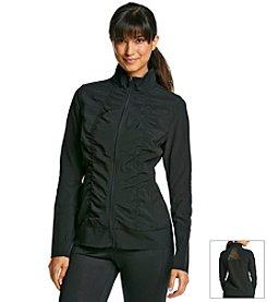 Exertek® Shirred Front Woven Jacket With Mesh Back Detail