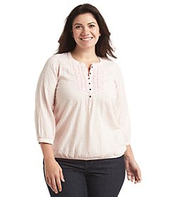 Ruff Hewn Plus Size Lace Bib Peasant Top