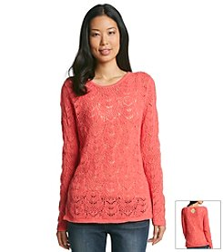 Eight Eight Eight® Long Sleeve Crochet Pullover