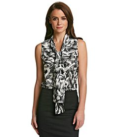 Nine West® Tie Neck Blouse With Abstract Print