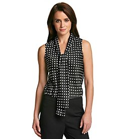 Nine West Tie Neck Blouse With Dot Pattern