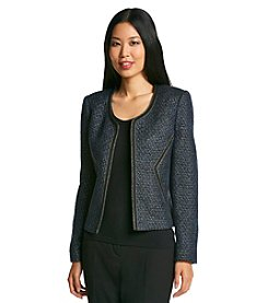 Nine West® Tweed Flyaway Jacket With Contrast Piping