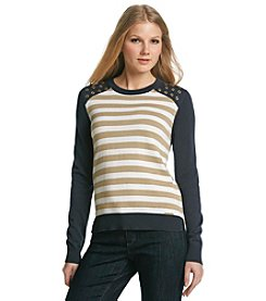 MICHAEL Michael Kors Striped Grommet Sweater