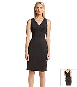 Calvin Klein V-Neck Scuba Sheath Dress